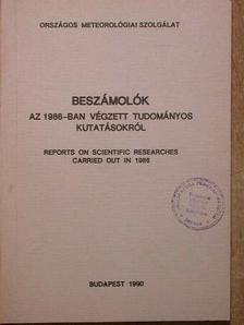 Anda Angéla - Beszámolók az 1986-ban végzett tudományos kutatásokról [antikvár]