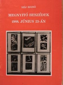 Kovács Miklós - Megnyitó beszédek 1988. június 23-án [antikvár]