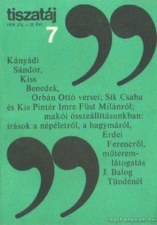 Vörös László - Tiszatáj 1978. július 32. évf. 7. [antikvár]