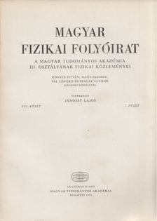 Jánossy Lajos - Magyar fizikai folyóirat XXI. kötet 2. füzet [antikvár]