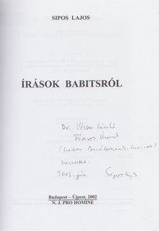 Sipos Lajos - Írások Babitsról (dedikált) [antikvár]