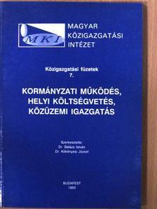 Dr. Balázs István - Kormányzati működés, helyi költségvetés, közüzemi igazgatás [antikvár]