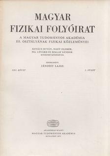 Jánossy Lajos - Magyar fizikai folyóirat XXI. kötet 5. füzet [antikvár]
