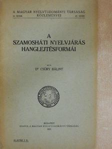 Dr. Csűry Bálint - A szamosháti nyelvjárás hanglejtésformái [antikvár]