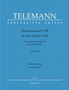 TELEMANN - JOHANNESPASSION 1745 TWV 5:30 KLAVIERAUSZUG URTEXT (OLGA KROUPOVÁ)