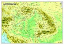 Kárpát-medence domborzata (határvonalak nélkül) falitérkép - lécezett