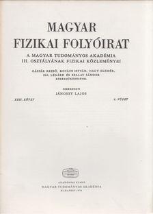Jánossy Lajos - Magyar fizikai folyóirat XXII. kötet 6. füzet [antikvár]