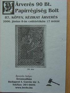 Árverés 90 Bt. Papírrégiség Bolt 87. könyv, kézirat árverés [antikvár]