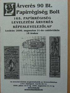 Árverés 90 Bt. Papírrégiség Bolt 165. papírrégiség, levelezési árverés, képeslevelezőlap [antikvár]