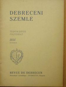 Bartha Károly - Debreceni Szemle 1934. november [antikvár]