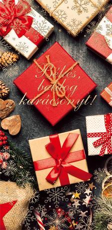 15160 - Képeslap borítékos LA/4, aranyozott, ezüstözött, zsebes, karácsonyi ZSAK17