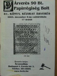 Árverés 90 Bt. Papírrégiség Bolt 81. könyv, kézirat árverés [antikvár]