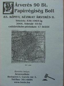 Árverés 90 Bt. Papírrégiség Bolt 83. könyv, kézirat árverés II. [antikvár]