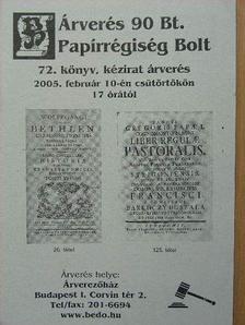 Árverés 90 Bt. Papírrégiség Bolt 72. könyv, kézirat árverés [antikvár]