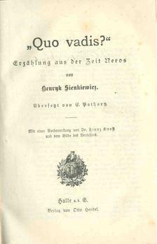 Henryk Sienkiewicz - Quo Vadis (német nyelvű) [antikvár]