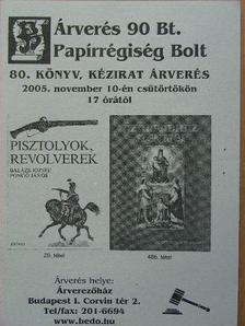 Árverés 90 Bt. Papírrégiség Bolt 80. könyv, kézirat árverés [antikvár]