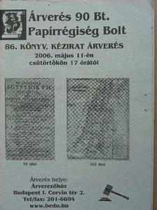 Árverés 90 Bt. Papírrégiség Bolt 86. könyv, kézirat árverés [antikvár]