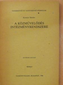 Kormos Sándor - A közművelődés intézményrendszere [antikvár]