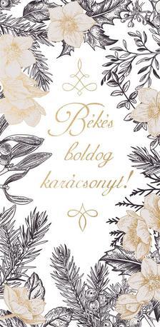 15162 - Képeslap borítékos LA/4, aranyozott, ezüstözött, zsebes, karácsonyi ZSAK19