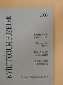 Egressy Zoltán - Nyílt Fórum Füzetek 2003 [antikvár]