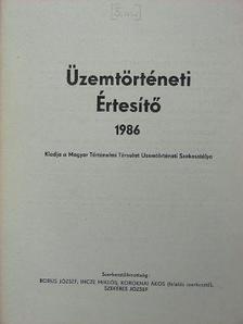 Bencze Géza - Üzemtörténeti Értesítő 1986 [antikvár]