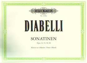 DIABELLI - SONATINEN OP.24, 54, 58, 60 FÜR KLAVIER ZU 4 HAENDEN (RUTHARDT)