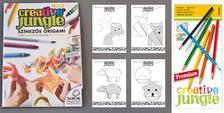 ÜGYV-SZERV Kft - CREATIVE JUNGLE gyermek és felnőtt színezős ORIGAMI könyv egyben + 40 db origami papír + 12 db-os prémium színes ceruza. Hajtogasson és színezzen együ