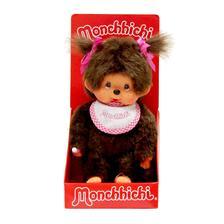 Monchhichi - Klasszikus lány pink szélű előkével