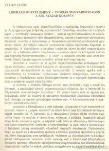 Veliky János - Liberális közvélemény - teóriák Magyarországon a XIX. század közepén [antikvár]