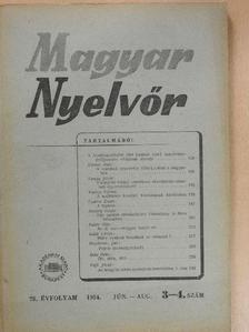 B. Ö. - Magyar Nyelvőr 1954. június-augusztus [antikvár]