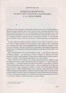 Zsupos Zoltán - Rákóczi Rozsnyón, avagy egy pletyka életrajza a 18. századból (különnyomat) [antikvár]