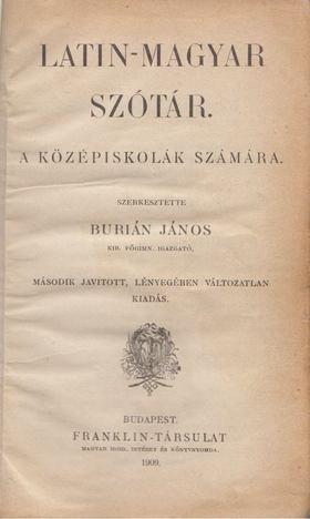 BURIÁN JÁNOS - Latin-magyar szótár a középiskolák számára [antikvár]