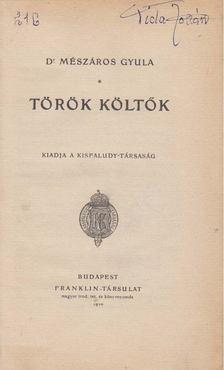 Mészáros Gyula - Török költők [antikvár]