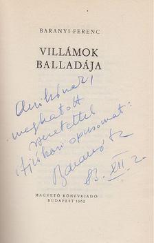 Baranyi Ferenc - Villámok balladája (dedikált) [antikvár]