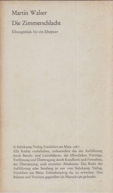 Martin Walser - Die Zimmerschlacht [antikvár]