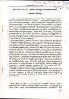 """Szilágyi Miklós - Domonkos János és a """"Békésvármegyei Múzeum története"""" (dedikált) [antikvár]"""