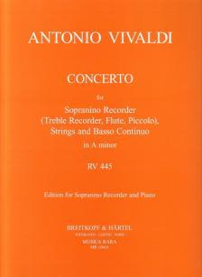 Vivaldi - CONCERTO FOR SOPRANINO RECORDER AND PIANO IN A MINOR RV 445 (LASOCKI / PETRENZ)