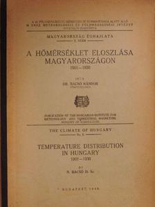Dr. Bacsó Nándor - A hőmérséklet eloszlása Magyarországon [antikvár]