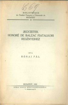 Rónai Pál - Jegyzetek Honoré de Balzac fiatalkori regényeihez [antikvár]