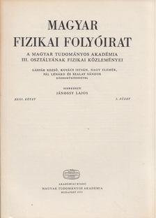 Jánossy Lajos - Magyar fizikai folyóirat XXIII. kötet 5. füzet [antikvár]