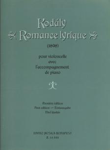 KOD - ROMANCE LYRIQUE (1898) POUR VIOLONCELLE AVEC PIANO PREMIERE ÉDITION