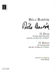 """Bartók Béla - 21 DUOS FÜR VIOLA UND VIOLONCELLO NACH DEN """"44 DUOS FÜR 2 VIOLINEN"""" BEARBEITET VON BARTÓK PÉTER"""