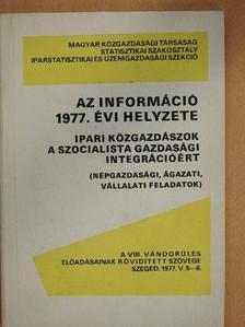 Dr. Burkus Egon - Az információ 1977. évi helyzete [antikvár]
