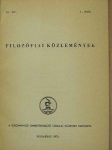Ágoston László - Filozófiai közlemények 1974/1. [antikvár]