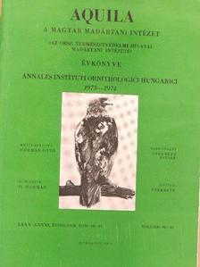 Bankovics Attila - Aquila - A Magyar Madártani Intézet évkönyve 1973-1974 [antikvár]