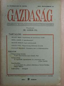 Facsády Kálmán - Gazdaság 1947. november 15. [antikvár]