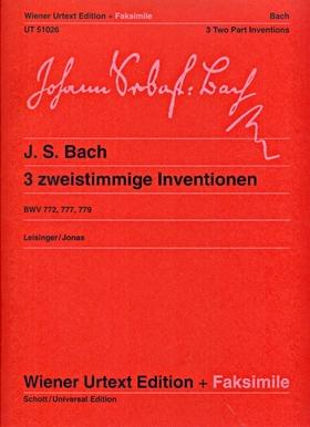 J. S. Bach - 3 ZWEISTIMMIGE INVENTIONEN BWV 772, 777, 779 FÜR KLAVIER WIENER URTEXT (LEISINGER / JONAS)