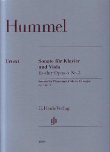 HUMMEL - SONATE FÜR KLAVIER UND VIOLA ES-DUR OP.5 NR.3 URTEXT (HERTTRICH / SCHILDE / ZIMMERMANN)