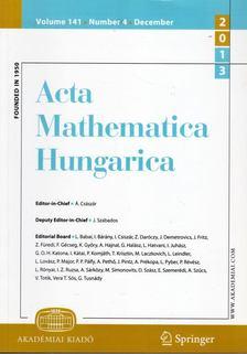 Császár Ákos - Acta Mathematica Hungarica Volume 141. Number 4. Decmber 2013 [antikvár]