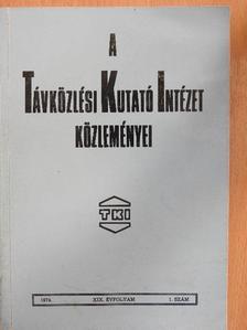 Pataki György - A Távközlési Kutató Intézet közleményei 1974/1. [antikvár]